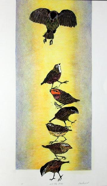 Ill Fly Away Block Print Hand Colored Monoprint 24x30