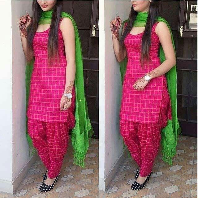 Beautiful Rani Pink Color Cotton Patiala Suit for Women.