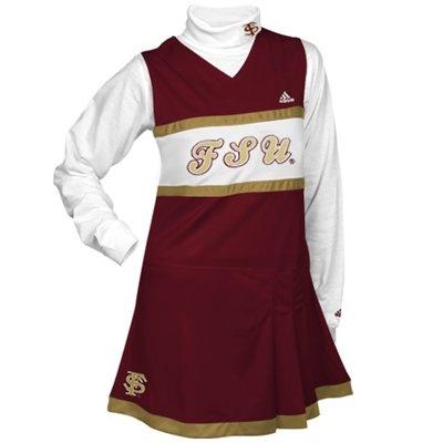 adidas Florida State Seminoles (FSU) Youth Girls Garnet-White 2-Piece Turtleneck & Cheerleader Dress Set