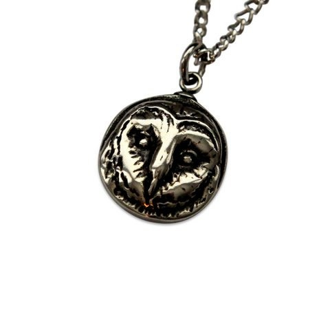 Tiny Barn Owl Pendant Necklace in Solid White Bronze