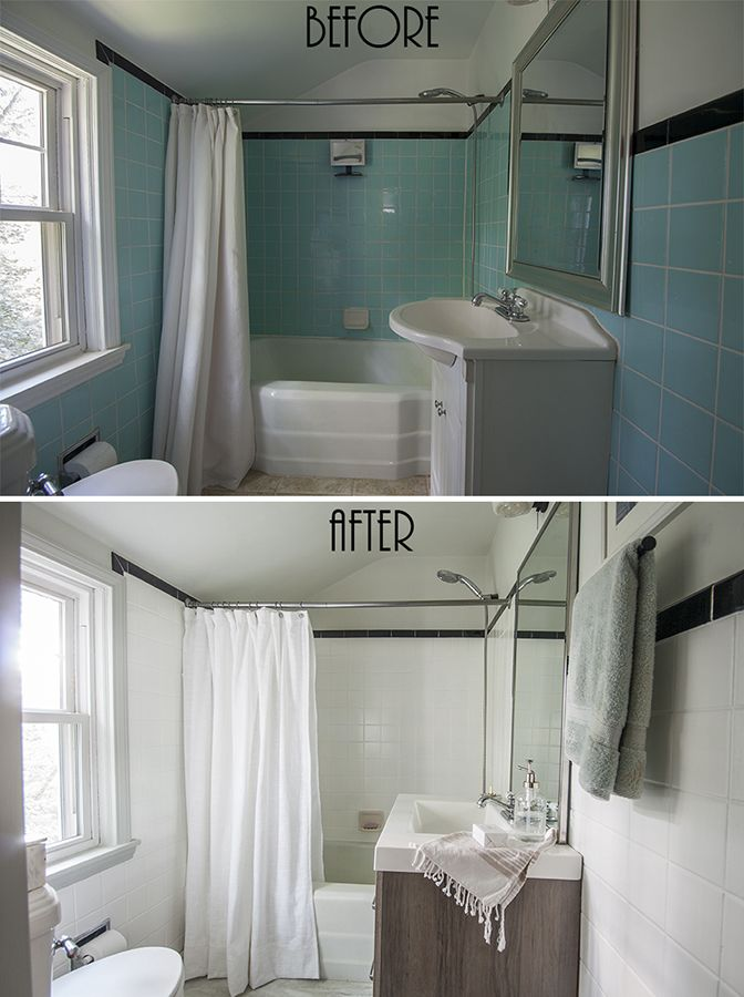 Painted Bathroom Wall Tile Small Bathroom Before After Diy