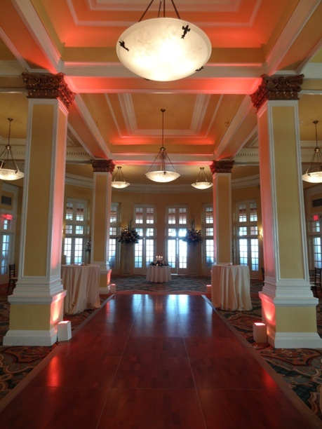 Beautiful Pink Uplights At The Hotel Galvez By Www.Premium