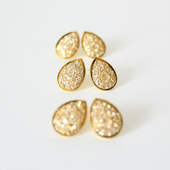 Gold teardrop earrings  gold studs  gold bridesmaid by Borcik