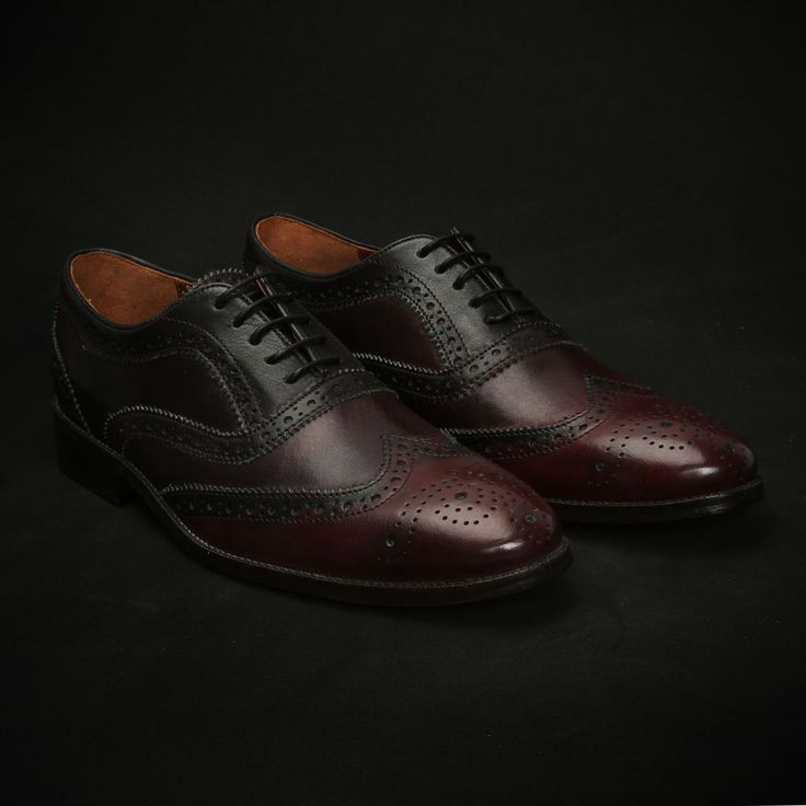 BUY DARK #WINE DUAL SHADE HAND PAINTED LEATHER FULL #BROGUE SHOES NEW EXCLUSIVE COLLECTION BY #BRUNE