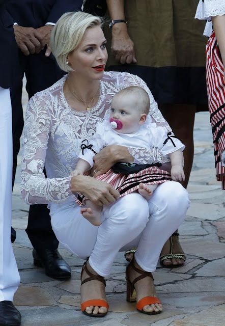 Prince Albert II of Monaco and Princess Charlene of Monaco their twins Princess Gabriella of Monaco and Prince Jacques of Monaco attend the annual traditional 'Pique Nique Monegasque' (Monaco's picnic) on August 28, 2015 in Monaco, Monaco.