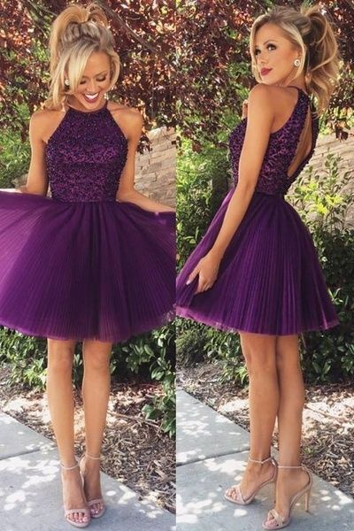 Pretty Purple Short Beading Tulle Homecoming Dresses,Halter Open Back Cocktail Dresses