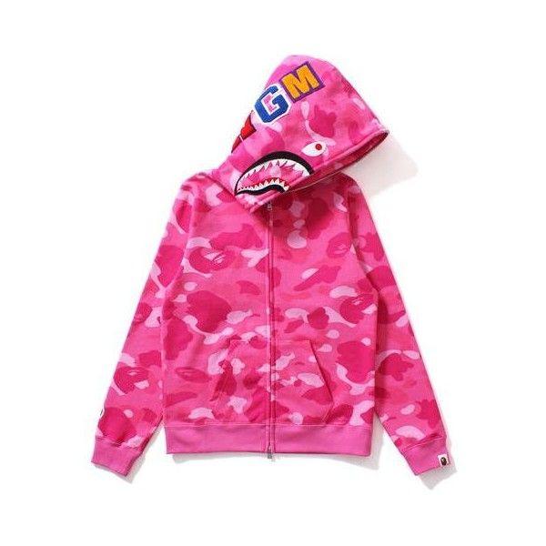 COLOR CAMO SHARK FULL ZIP HOODIE LADIES ($100) ❤ liked on Polyvore featuring tops, hoodies, camo hoodies, camouflage hooded sweatshirt, pink hooded sweatshirt, cotton hoodies and cotton hoodie