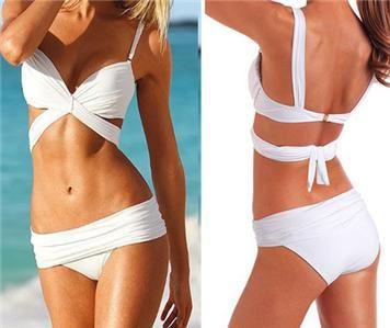 White Draped Push Up Halter Top Row-rise Bikini