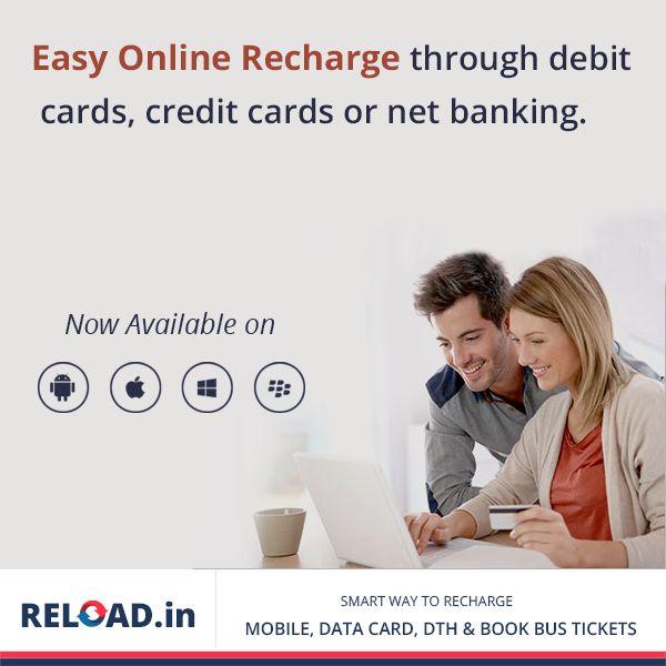 #Easyonlinerecharge through debit cards, credit cards or net banking through Reload.in Visit @ www.Reload.in