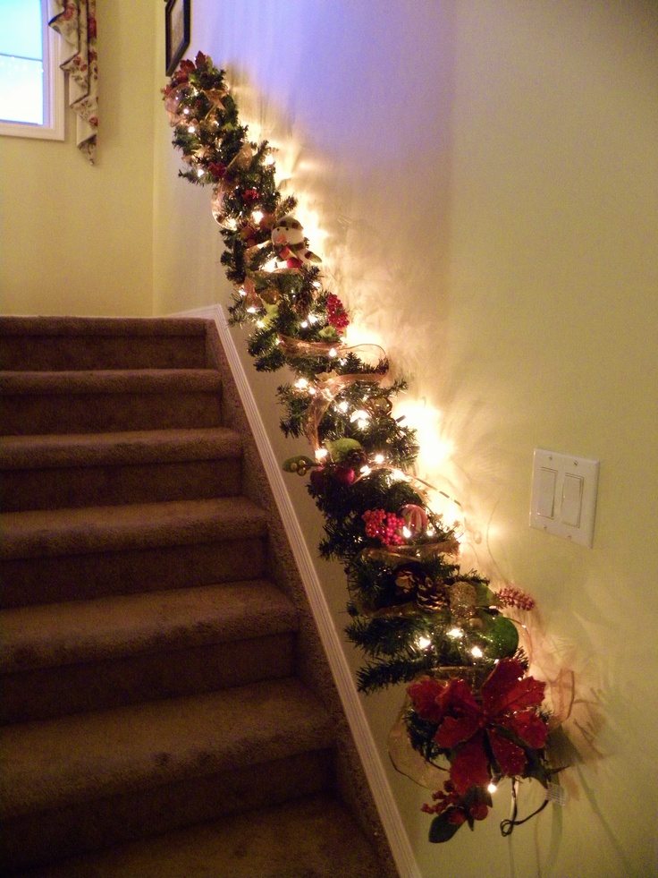 17 best images about christmas staircase decor on - Christmas decorations for stair rail ...