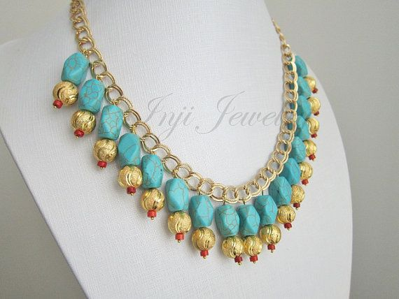 Gold Turquoise Necklace. Turquoise Coral and Gold Chain Necklace. Chunky Big Bold Necklace . Exotic Blue Necklace. Statement Blue Necklace