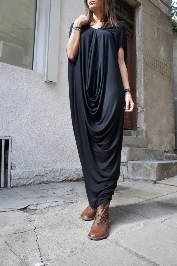 Black Loose Tunic Top / Extravagant Dress/ One size / by Aakasha, $75.00