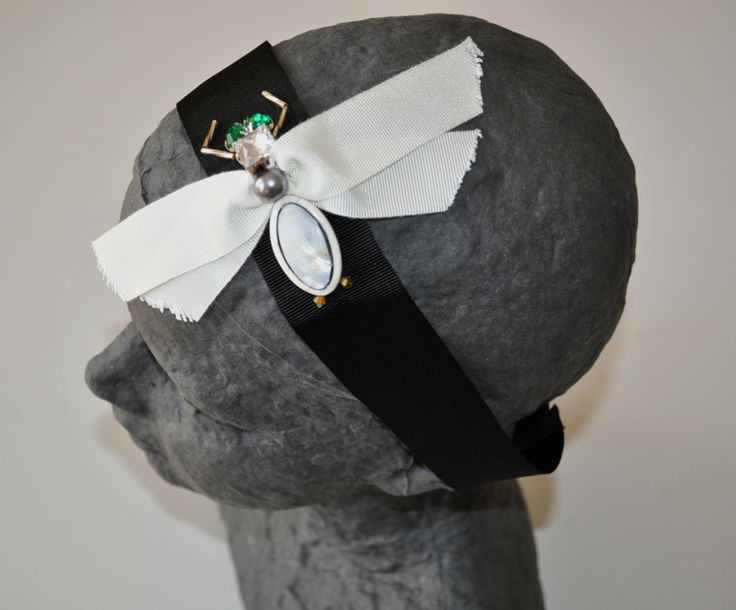 FLY headband Mixed elements on grosgrain ribbon