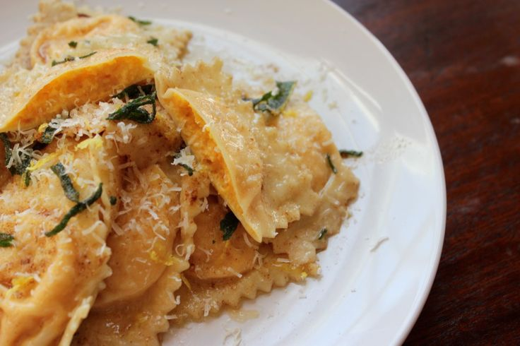 Butternut Squash Ravioli with a Sage Brown Butter Sauce |