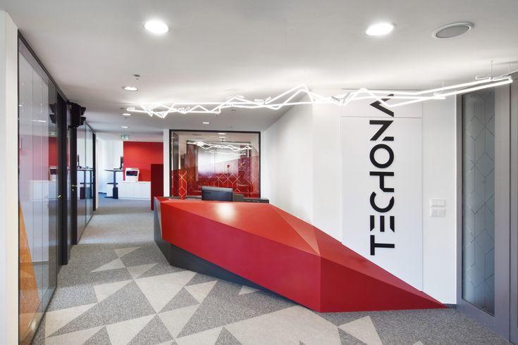 Techona office   monom - interior, geometrical front desk