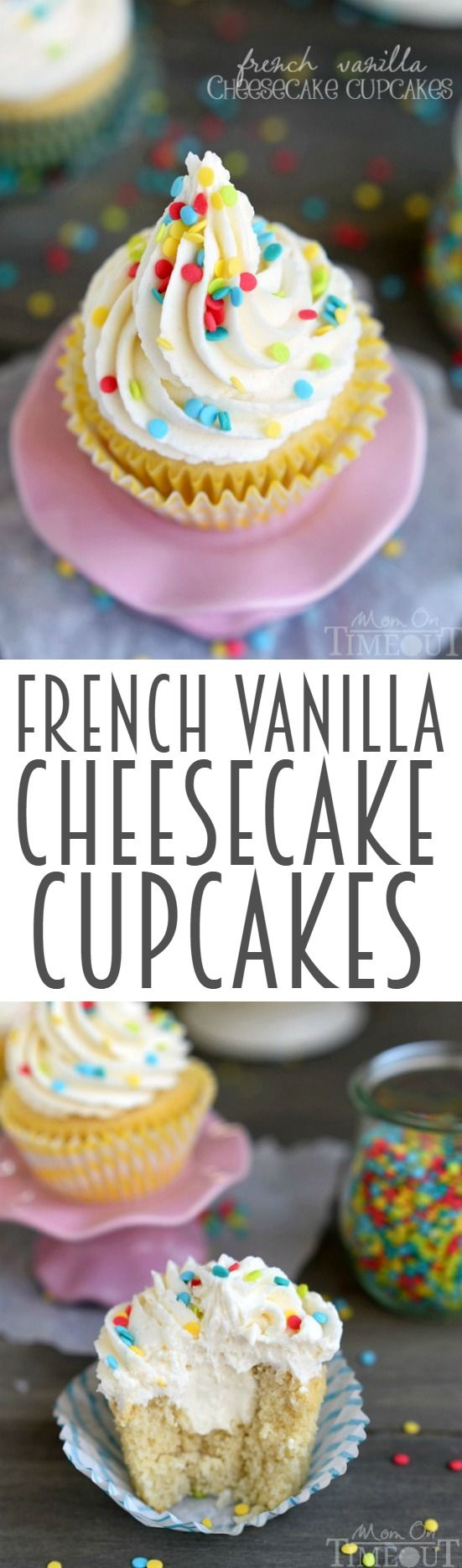 How about French Vanilla Cheesecake Cupcakes for the dessert win? It's like two desserts in one! Cheesecake filling is nestled inside a delicious vanilla cupcake and topped with the most amazing vanilla frosting ever - don't forget the sprinkles! | MomOnTimeout.com