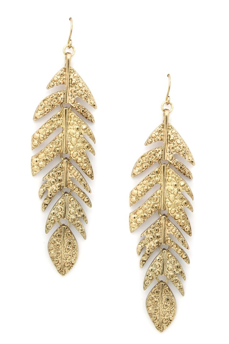 feather my ear earrings glitter gold