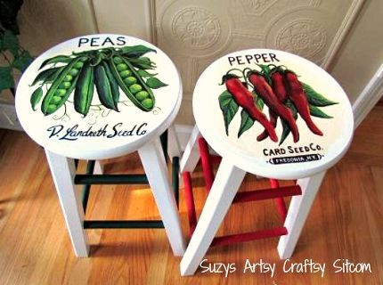 vintage seed packet art on stools, painted furniture, repurposing upcycling, Hand Painted Stools a great makeover from a thrift store find