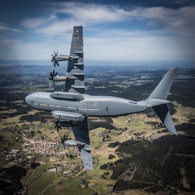 "French Armée de l'Air A400M ET 1-61 ""Touraine"" in training flight over the Auvergne Photo JL. Brunet air Armee photo JL. Brunet Armee de l'air"