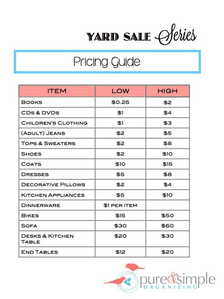 Yard Sale Series Pricing Guide.001