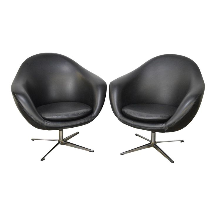 Overman Mid Century Modern Black Swivel Club Chairs - a Pair - Image 1 of 13