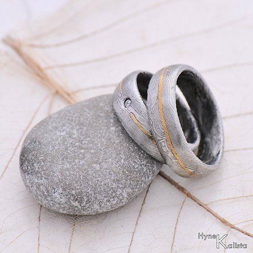 Snubní prsten damasteel zlato diamant - GODA