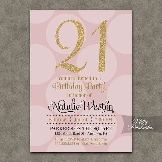21st Birthday Invitations  Pink & Gold by NiftyPrintables on Etsy