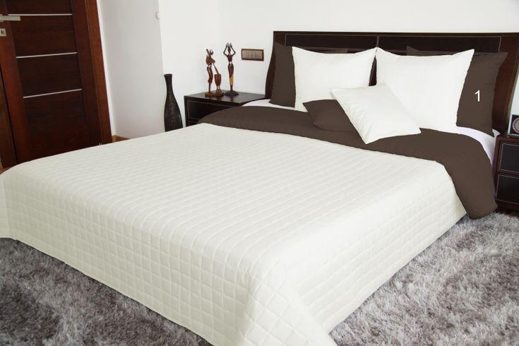 Narzuta dwustronna na łóżko w kolorze kremowo brązowym