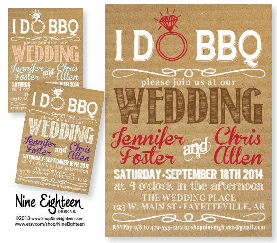 I Do Wedding Invitations: IDo BBQ Wedding Invitation. Kraft/Cardboard Look