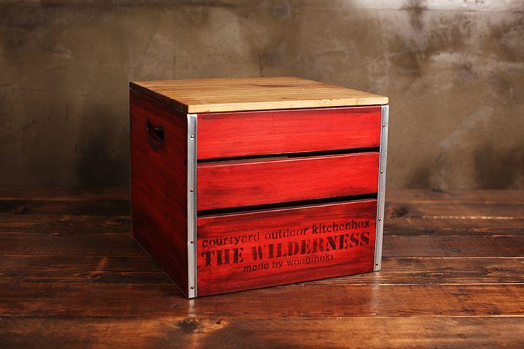 #box #campboxcube #redbox #woodencubebox #campingbox #wooginoki #wood #handmade #outdoor #woodencampbox