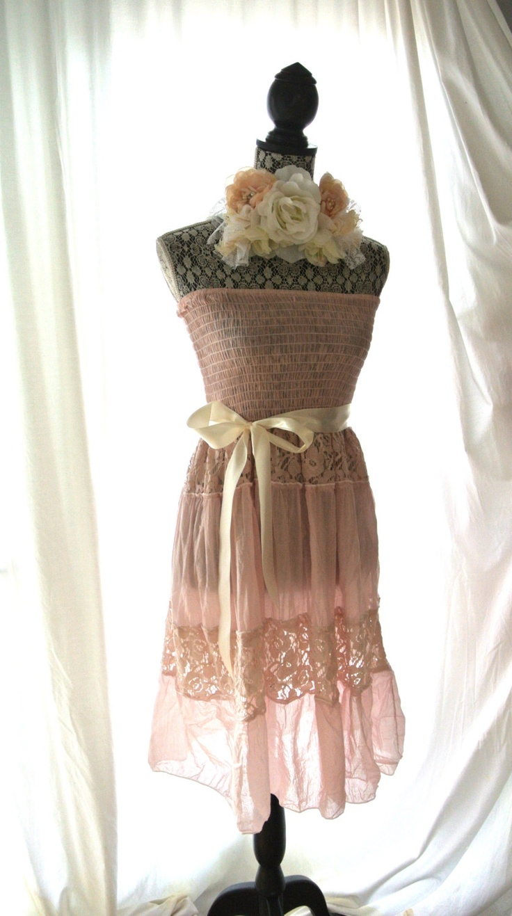 Sundress, romantic shabby blush dress, rustic lace, country chic clothing, women's, french country chic, true rebel clothing.
