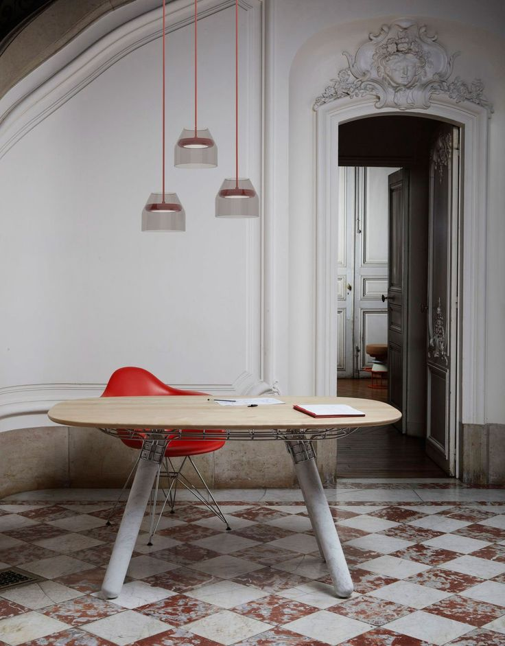 Magnum table by Pierre Favresse with Carrara marble legs from La Chance   Yellowtrace.