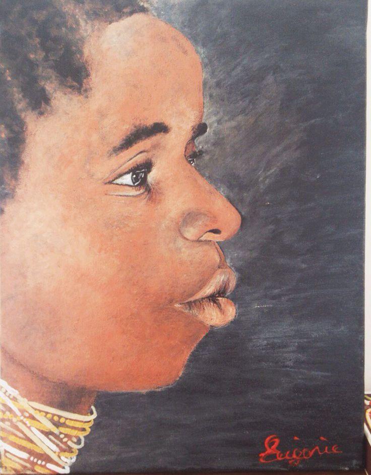 African boy Acrylic Painting Face/Portrait