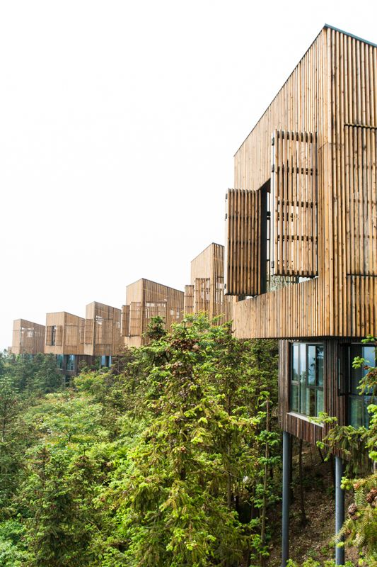 Tree top houses | Garden Valley - Mei Jie Mountain Hotspring Resort | AchterboschZantman Architecten | Liyang, China