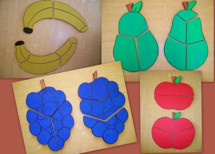 zelfgemaakte houten puzzels thema fruit Meer ideetjes rond thema Fruit: *liestr*