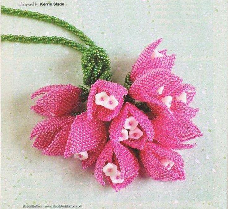 Шнур с тюльпанами / Колье, бусы, ожерелья / Biserok.org