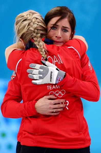 Eve Muirhead of Great Britain (R) shows her emotions as she celebrates with Anna Sloan as Team GB win the bronze medal during the Bronze medal match between Switzerland and Great Britain (c) Getty Images