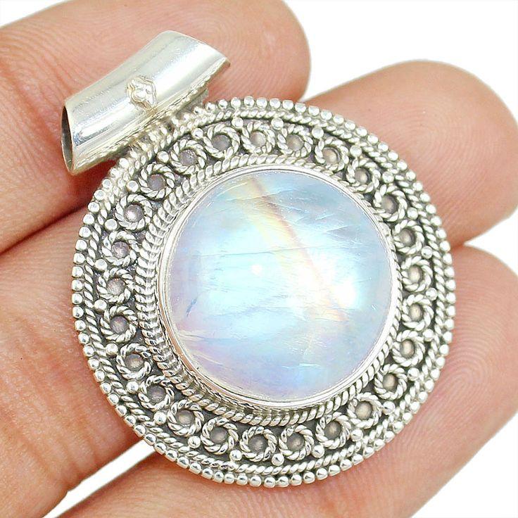 Top Grade Rainbow Moonstone 925 Sterling Silver Pendant Jewelry Sp-2435 #Allisonsilverco