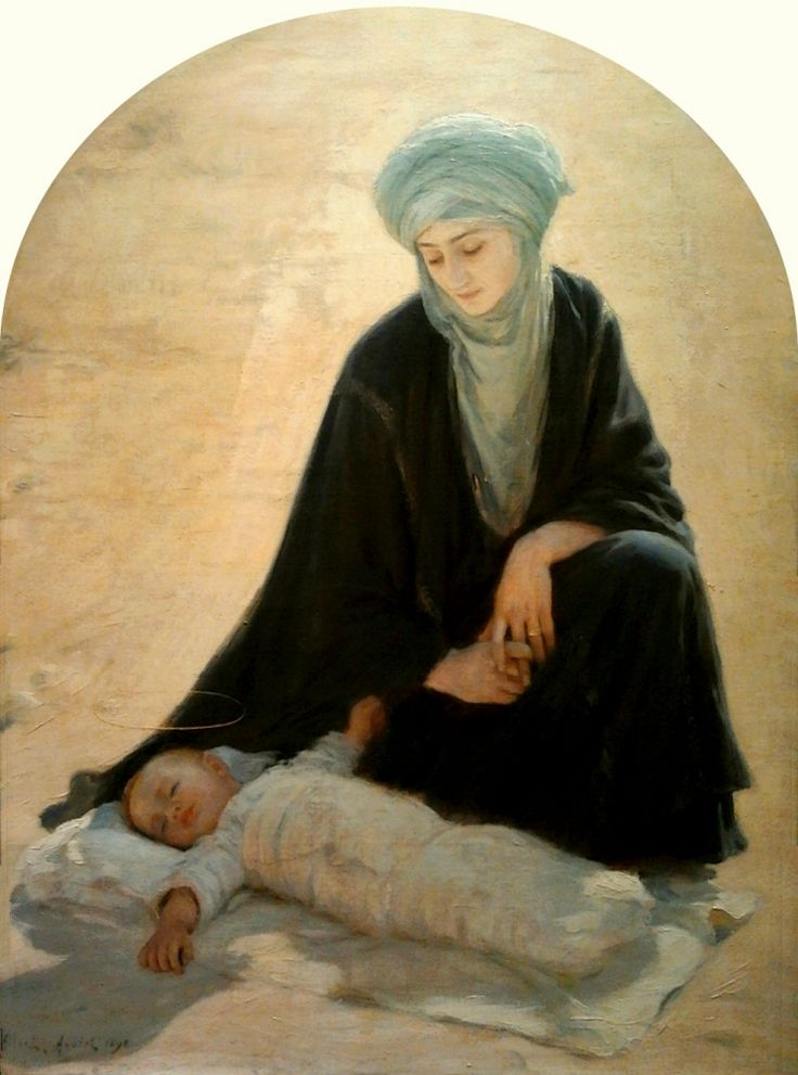 Albert Aublet 1851–1938 Arabic Madonna and Child (The Child sleeping in the desert) 1898