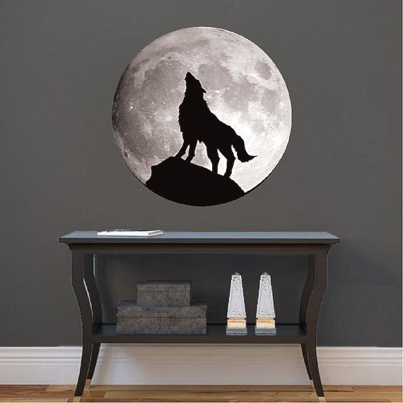 Wolf Decal Wolf Howling Wall Sticker Howling Wolf Moon ...