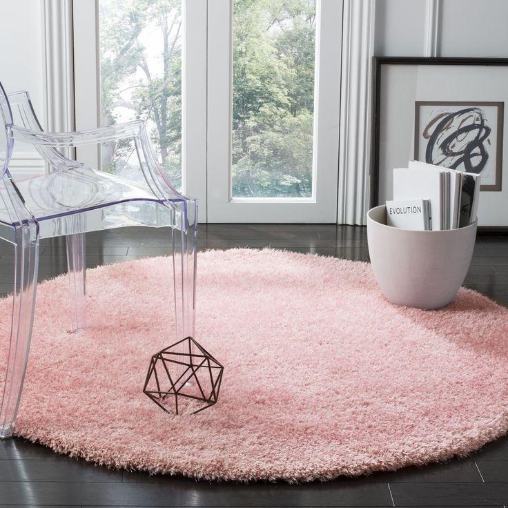 Safavieh Toronto Handmade Pink Shag Rug (5' Round) (SGTW711M-5R), Size 5'