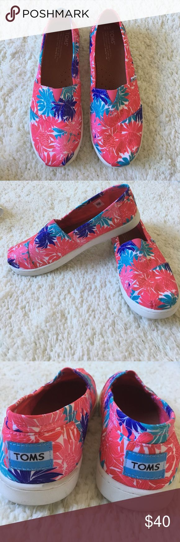 Floral Print Toms Pink floral Toms. Plastic bottoms. Brand new without box. Size 5.5 youth. But fits like a women's size 7.5 Toms Shoes Flats & Loafers