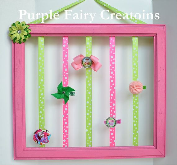 Upcycled Accessories Organizer Frame - Pink, and Lime Green (Hair Bow  Headband Holder) Baby Girl, Girl or Teen Room Wall Decor (Organizador de Accesorios del Cabello / Pelo para Niña) by PurpleFairyCreations