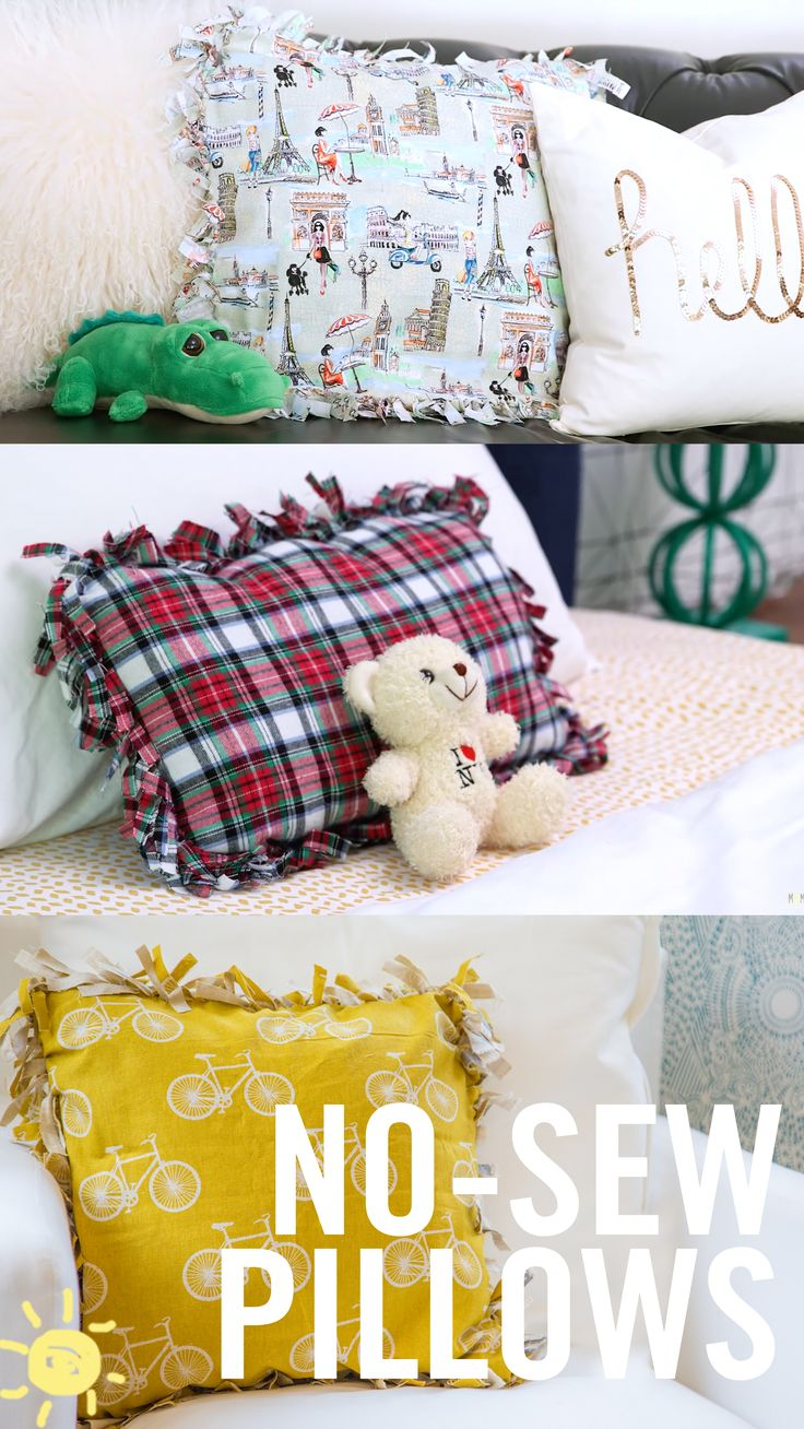 Can't sew?? No problem, these adorable accent pillows only require some fabric, filler, and your fingers!!