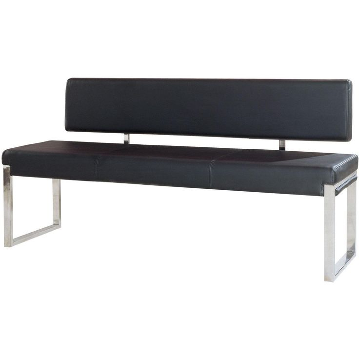 Knox Bench w/ Back & Stainless Steel Frame by Diamond Sofa - Black