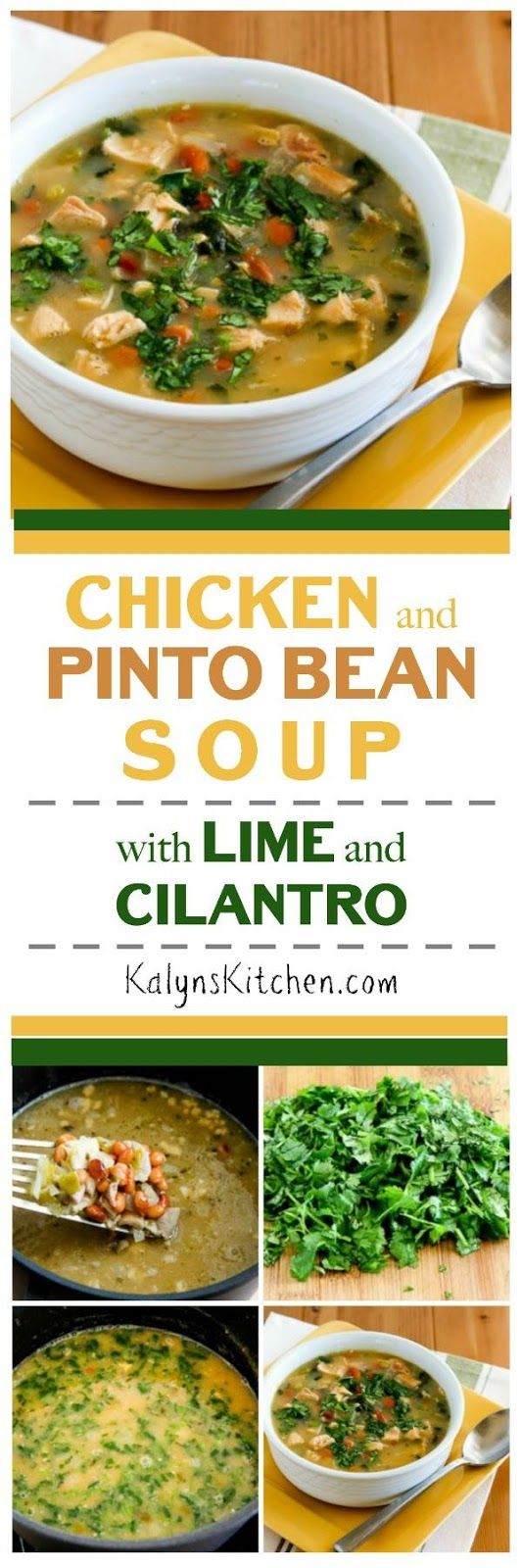 Chicken and Pinto Bean Soup  with Lime and Cilantro is an easy and delicious soup that can start with leftover rotisserie chicken!  You can also omit the pinto beans and make this a great low-carb soup.  [found on KalynsKitchen.com] #ChickenSoup #MexicanChickenSoup #ChickenPintoBeanSoup