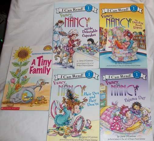 4 Fancy Nancy Books by Jane O'Connor and A Tiny Family Beginning Reading Level 1