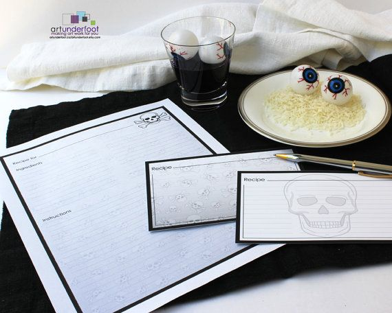 Skull Recipe Cards PDF. Editable text file that you personalize and print at home.