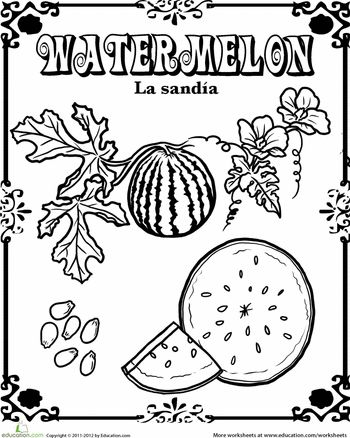 Worksheets: Watermelon in Spanish