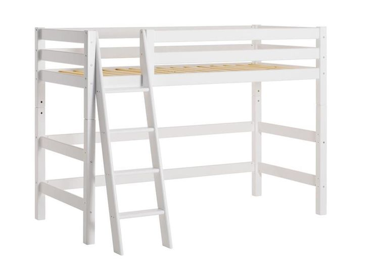 Mittelhochbett Weiß mit Schräger Leiter und Lattenrost, Hoppekids Premium , Jetzt bestellen unter: https://moebel.ladendirekt.de/kinderzimmer/betten/hochbetten/?uid=cb4b526d-d2d9-5a4f-a81e-21edc22d2f0e&utm_source=pinterest&utm_medium=pin&utm_campaign=boards #kinder #hoppekids #kinderzimmer #weiß #hochbetten #hochbett #betten